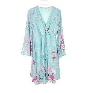 PinkBlush Maternity Floral Chiffon Bell Sleeve Faux Wrap Dress Blue Large L